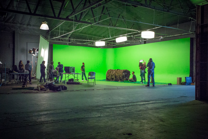 large green screen studio